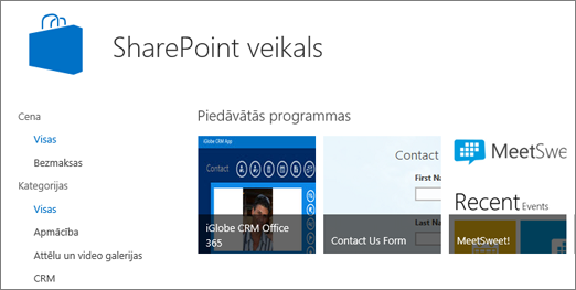 SharePoint veikala programmas atlasi skats