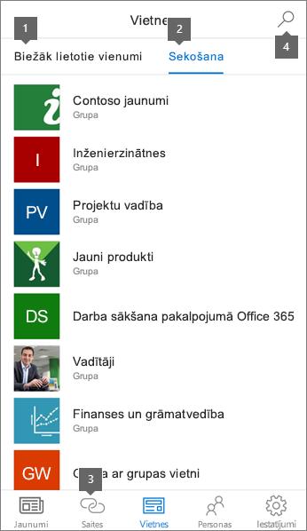 Vietnes cilnes SharePoint mobilās lietojumprogrammas darbam ar iOS