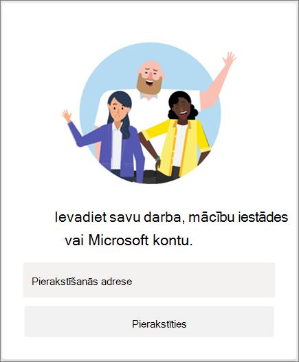 Pierakstīšanās pakalpojumā Microsoft Teams