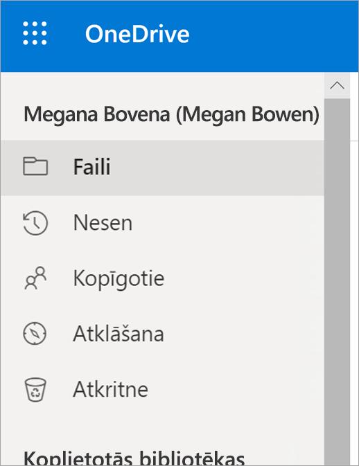 Izvēlne Skats pakalpojumā OneDrive