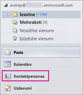 """Lai skatītu kontaktpersonas, Outlook navigācijas izvēlnes apakšā izvēlieties """"Kontaktpersonas""""."""