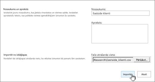 Jauns programmas dialogs ar aizpildītu nosaukumu un faila atrašanās vietu, iezīmēts