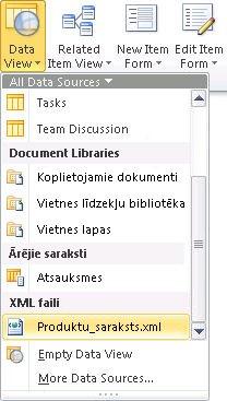 vietnes atvēršana programmā sharepoint designer2010