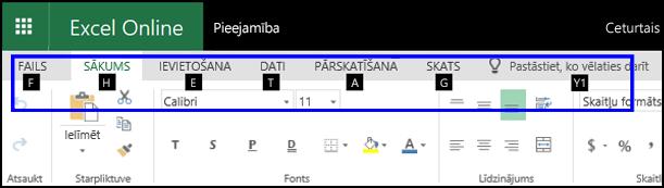 Excel Online lente, kurā redzama cilne Sākums un padomi visās cilnēs