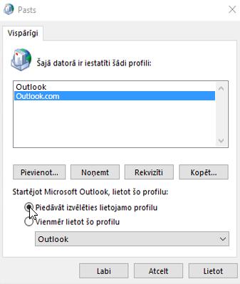 Ekrānuzņēmums, kurā redzams lodziņš Profili programmā Outlook