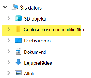 Failu pārlūkā kartētā bibliotēka tiek rādīta kā mapes ievadne šajā datorā.