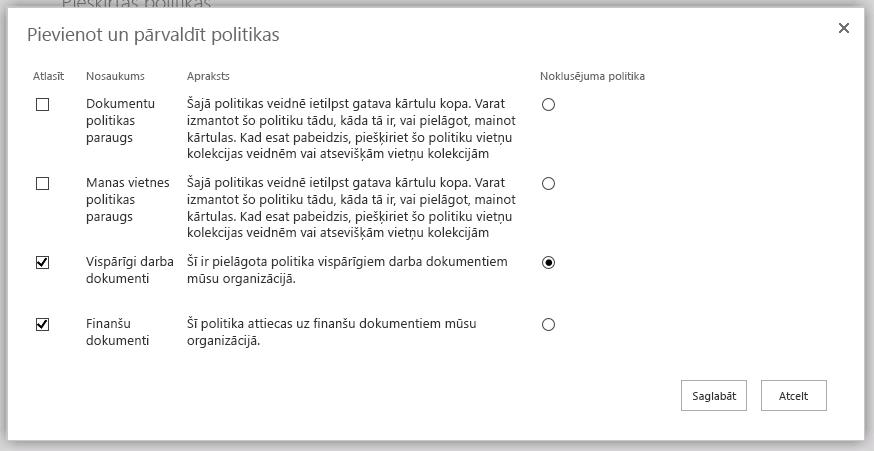 Pievienot un pārvaldīt politikas lapu