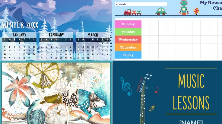 īpašu kalendāra, pasākumu un grafiku veidņu ekrānuzņēmumi.