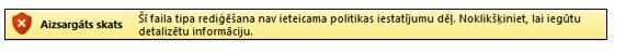 failu bloķēšanas aizsargātais skats: lietotājs nevar rediģēt failu