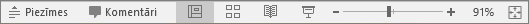Tiek rādītas skata pogas ekrāna apakšā programmā PowerPoint