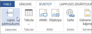 Poga Lappuses pārtraukums programmā Word Web App