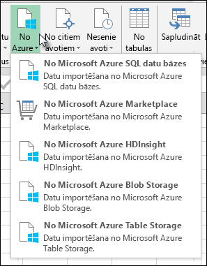 Power Query importēšana no Azure dialogs