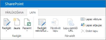 SharePoint 2013 lentē ekrāna augšējā kreisajā stūrī