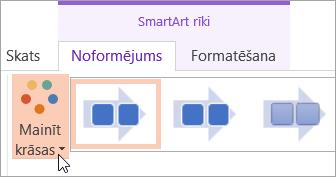 Tiek parādīta poga mainīt krāsas cilnē Noformējums