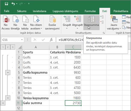Lai Excel datos pievienotu starpsummas rindu, cilnē Dati noklikšķiniet uz Starpsumma