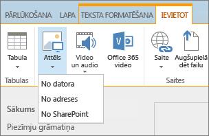 Ekrānuzņēmums ar SharePoint Online lenti. Atlasiet cilni Ievietošana un pēc tam atlasiet Attēls, lai izvēlētos augšupielādēt failu no datora, tīmekļa adreses vai SharePoint atrašanās vietas.