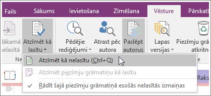 Ekrānuzņēmums, kurā redzama poga Atzīmēt kā lasītu programmā OneNote2016.