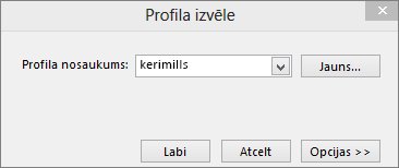 Izvēlieties profila dialoglodziņu ar jaunā profila nosaukumu