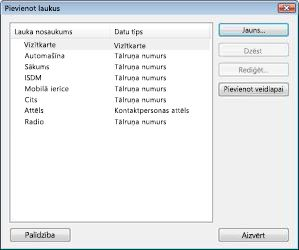 The Add Fields dialog box