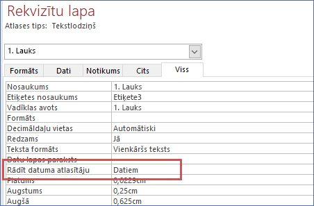 Veidlapas rekvizītu lapā Rādīt datuma atlasītāja rekvizītu