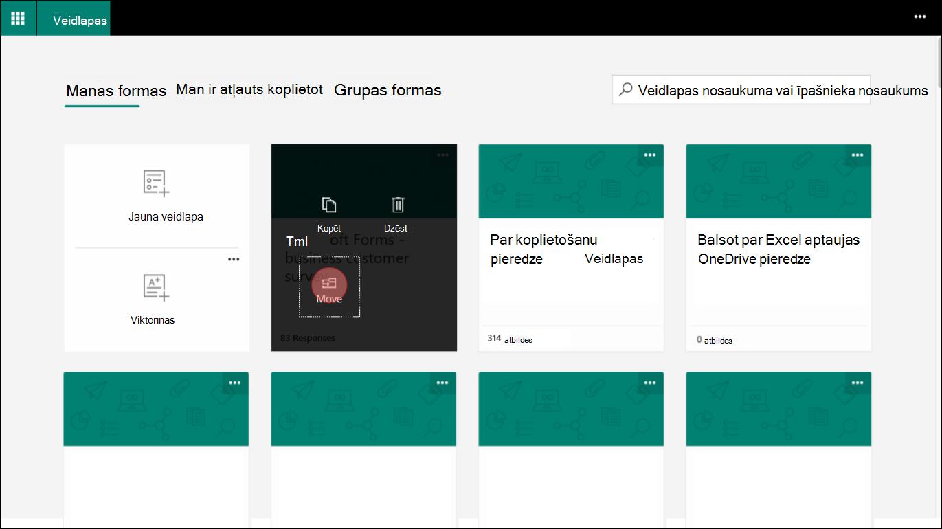 Programmā Microsoft Forms izvēlieties formu cilnē Manas veidlapas, lai pārietu uz grupu