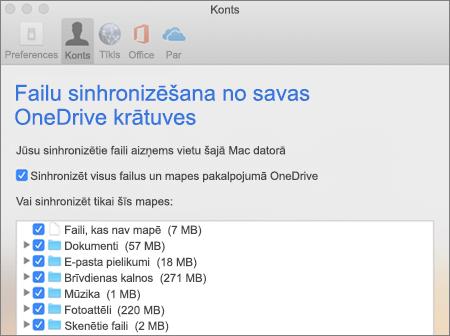 Sinhronizēšanas dialoglodziņš pakalpojumam OneDrive operētājsistēmai Mac