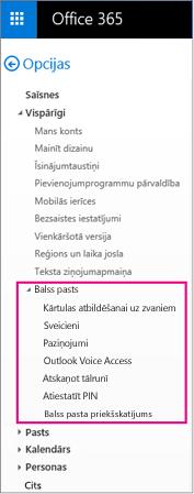 Balss pasta opciju Outlook e-pasta opciju rūts