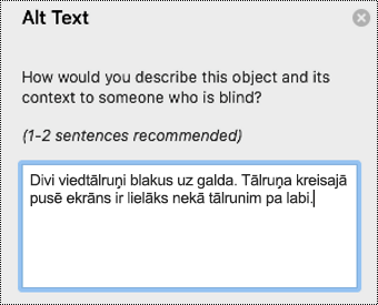 Alternatīvais teksts programmā Outlook darbam ar Mac.