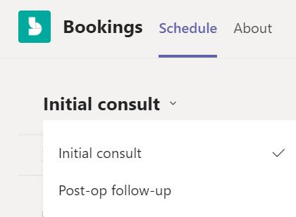 Tikšanās tipa nolaižamā izvēlne Bookings programmā