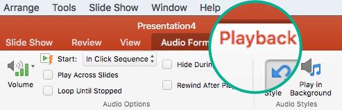 Kad slaidā ir atlasīts audio klips, rīkjoslas lentē parādās cilne Atskaņošana, kurā varat iestatīt atskaņošanas opcijas.