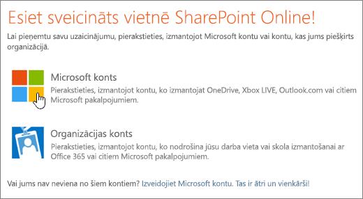 Ekrānuzņēmums, kurā redzams pierakstīšanās ekrāns SharePoint Online.