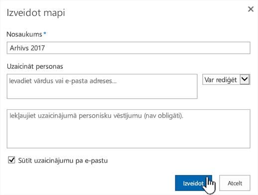 SharePoint Online klasiskais režīms dialoglodziņš koplietošana