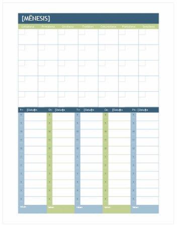 Mēneša un nedēļas plānošanas kalendārs (Word)