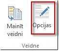Veidnes opciju poga programmā Publisher2013