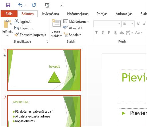 Parāda PowerPoint2016 ar baltu dizainu.