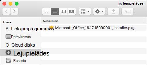 Lejupielāžu ikona dokā norāda uz Office365 instalēšanas pakotni