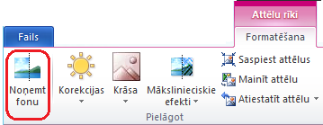 Poga Noņemt fonu cilnes Formatēšana sadaļā Attēla rīki vai lentē sistēmā Office 2010