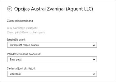 Ekrānuzņēmums ar ienākošo zvanu pāradresēšanas opcijām, kā arī opciju pāradresēt uz balss pastu un opciju lietot vienmēr