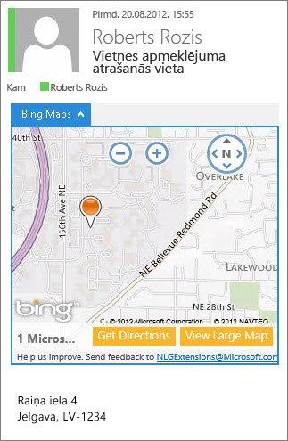E-pasta ziņojums ar Bing karšu lietojumprogrammu, kurā tiek rādīta adrese kartē