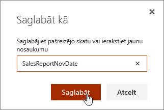 SharePoint Online skata saglabāšana dialogs