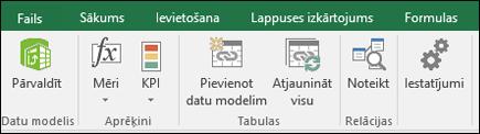 Power Pivot izvēlne Excel lentē