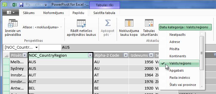 Datu kategorijas pievienojumprogrammā PowerPivot