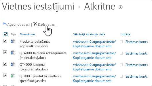 SharePoint 2013 2. līmenis atkritnē ar atlasītu visi elementi un iezīmētu pogu Dzēst