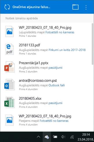 OneDrive izmaiņu apstrādes ekrāns
