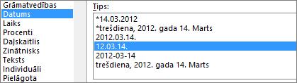 Dialoglodziņš Šūnu formatēšana, komanda datums, 3/14/12 1:30 PM tips