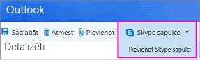 Jauna Skype sapulce opcija programmā Outlook tīmeklī