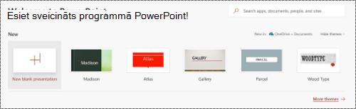 Esiet sveicināts skats ar veidnes programmā PowerPoint Online.