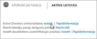 Blakus Active Directory sinhronizācija izvēlieties opciju Iestatīt