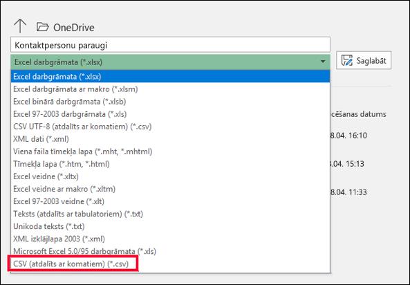 Saglabājiet Excel failu kā CSV failu.