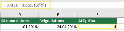 "Šūna D15 ar 01.01.2016., šūna E15 ar 24.04.2016., šūna F15 ar formulu =DATEDIF(D15,E15,""d"") un rezultātu114"